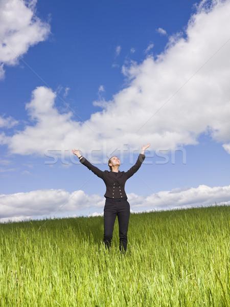 Fiatal nő karok a magasban szabadtér égbolt tavasz fű Stock fotó © gemenacom