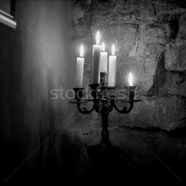Vela luces oscuro sótano piedra antiguos Foto stock © gemenacom