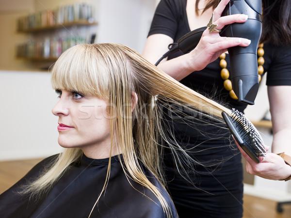Kapsalon situatie blond vrouw schoonheid dienst Stockfoto © gemenacom