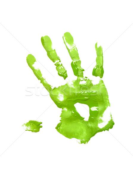Green handprint on white Stock photo © gemenacom