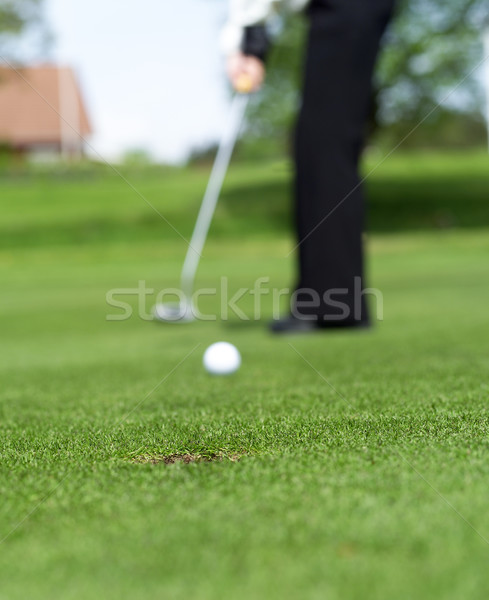 Golf helyzet szelektív fókusz égbolt sport jókedv Stock fotó © gemenacom