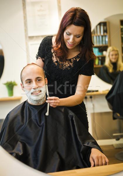 Helyzet fodrászat terv férfiak dolgozik tükör Stock fotó © gemenacom
