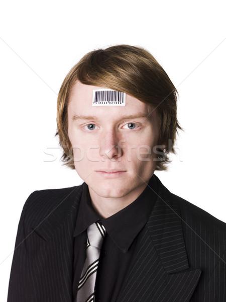 Man streepjescode gezicht jeugd witte stropdas Stockfoto © gemenacom