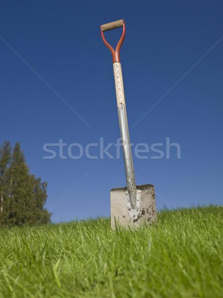 Shovel in green grass against a blue sky Stock photo © gemenacom