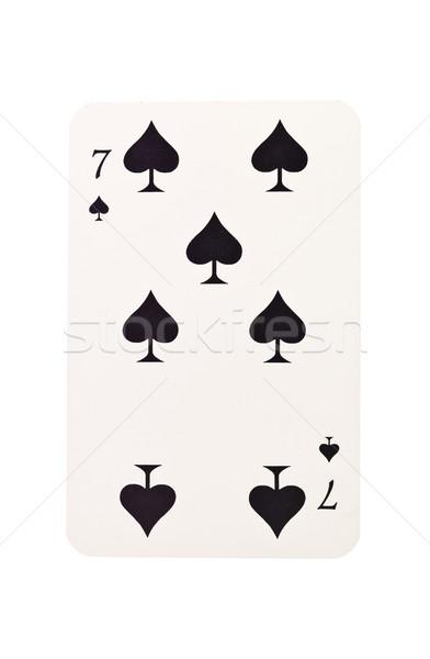 Zeven spades geïsoleerd witte zwarte succes Stockfoto © gemenacom