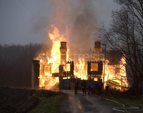 火災 アパート 午前 ウィンドウ オレンジ 煙 ストックフォト © gemenacom
