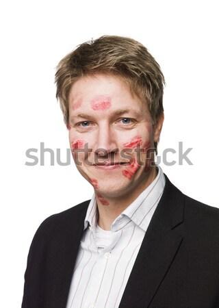Homme rouge à lèvres visage heureux blanche Photo stock © gemenacom