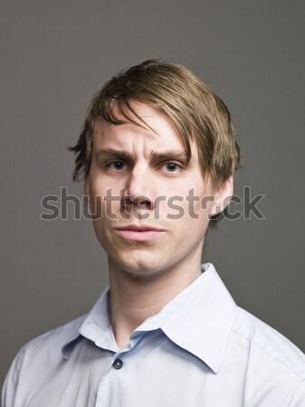 Portré komoly férfi divat férfiak hideg Stock fotó © gemenacom