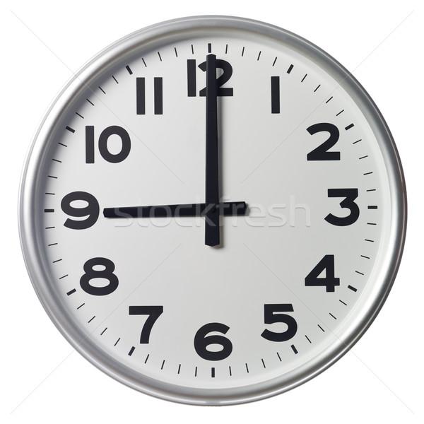 Nove relógio preto branco ninguém vertical Foto stock © gemenacom