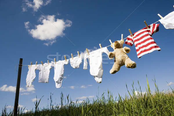Waslijn blauwe hemel wolk touw wasserij Stockfoto © gemenacom