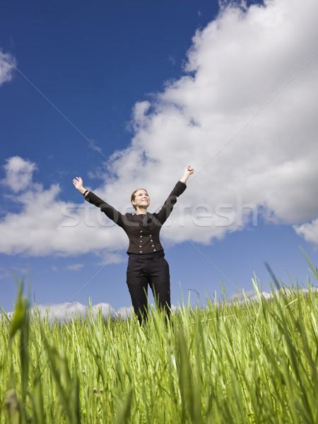 Fiatal nő karok a magasban égbolt tavasz fű nők Stock fotó © gemenacom