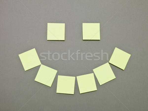 Száj szemek tapadó jegyzetek citromsárga szürke Stock fotó © gemenacom