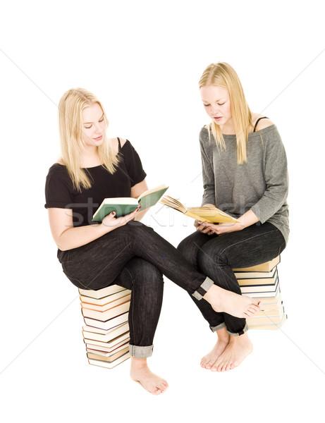 девочек сидят книгах чтение изолированный белый Сток-фото © gemenacom