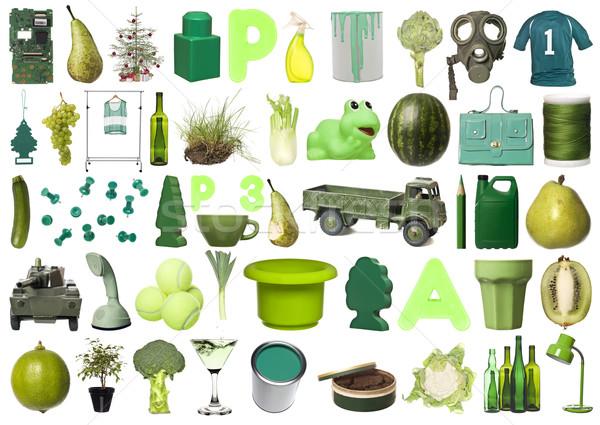 Csoport zöld tárgyak nagyobb csoport izolált fehér Stock fotó © gemenacom
