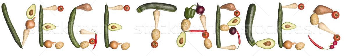 Stock fotó: Szó · zöldségek · ki · izolált · fehér · kommunikáció