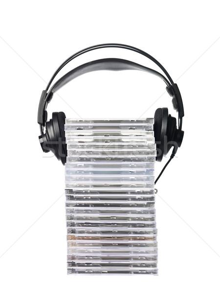 Cds hoofdtelefoon geïsoleerd witte muziek Stockfoto © gemenacom