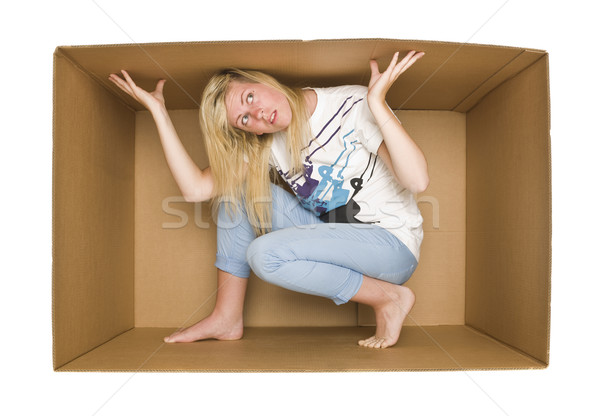 Woman inside a Cardboardbox Stock photo © gemenacom