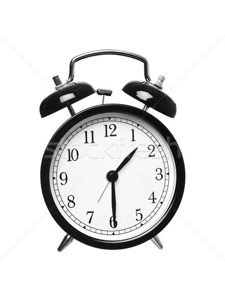 Fél múlt egy ébresztőóra izolált fehér Stock fotó © gemenacom