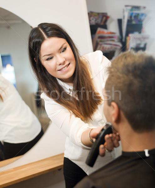 男 ビューティーサロン 若い男 女性 ミラー 女性 ストックフォト © gemenacom