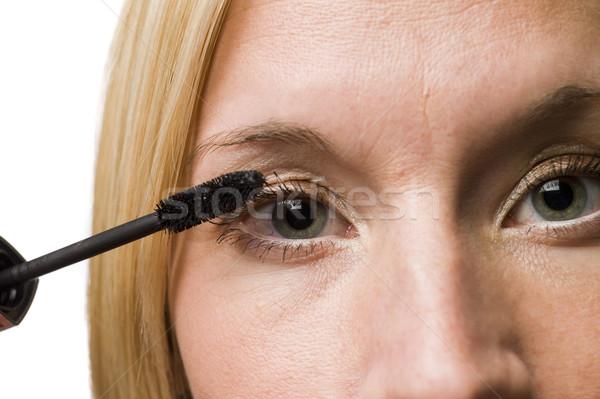 Vrouw mascara gezicht verf vrouwelijke witte Stockfoto © gemenacom