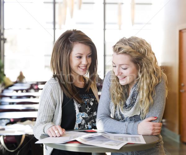Kettő lányok tanul lány mosoly nők Stock fotó © gemenacom