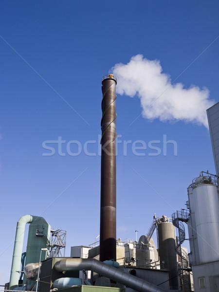 Komin Błękitne niebo chmury dymu niebieski przemysłu Zdjęcia stock © gemenacom