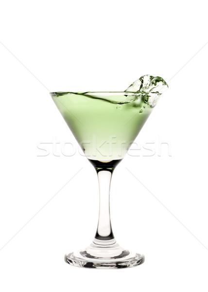 Zöld folyadék csobbanás martinis pohár ital koktél Stock fotó © gemenacom