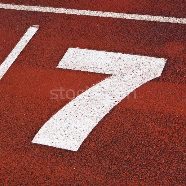 Número sete vermelho fotografia Foto stock © gemenacom