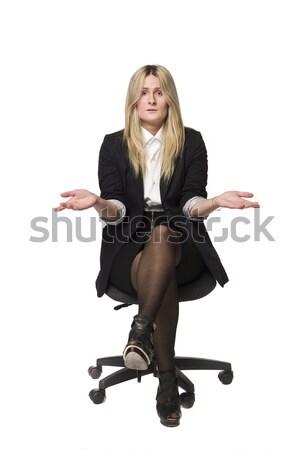 Kadın bakıyor şaşırmış iş eller çalışmak Stok fotoğraf © gemenacom
