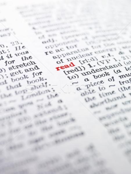 Palavra ler dicionário papel imprimir pesquisa Foto stock © gemenacom