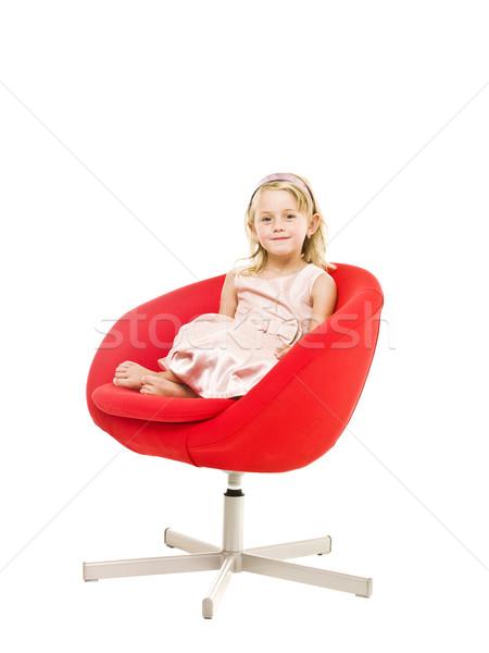 Fiatal lány fotel izolált fehér női ül Stock fotó © gemenacom