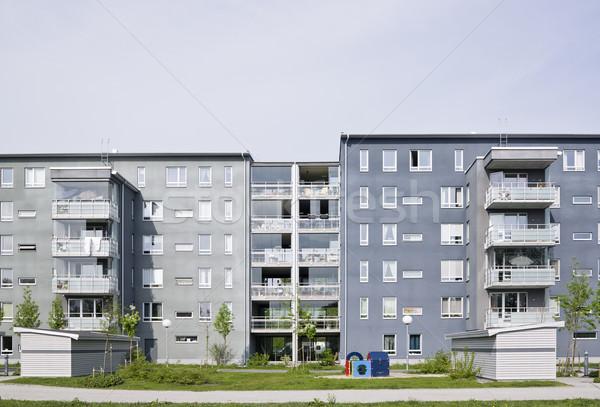 Társasház kilátás lakóövezeti kerület napos idő kék Stock fotó © gemenacom
