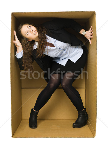 Сток-фото: женщину · окна · изолированный · белый · бизнеса