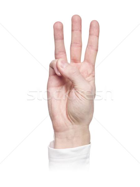 List w język migowy odizolowany biały tłum podpisania Zdjęcia stock © gemenacom
