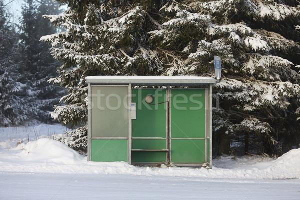 Otobüs durağı kış çevre yol doğa zaman Stok fotoğraf © gemenacom
