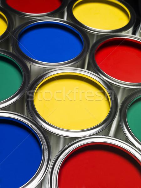 Verf full frame gekleurd metaal groene Blauw Stockfoto © gemenacom