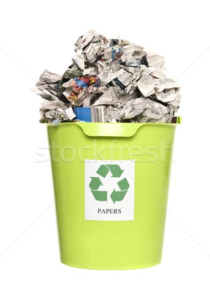 Geri dönüşüm kâğıt yalıtılmış beyaz gazete Stok fotoğraf © gemenacom