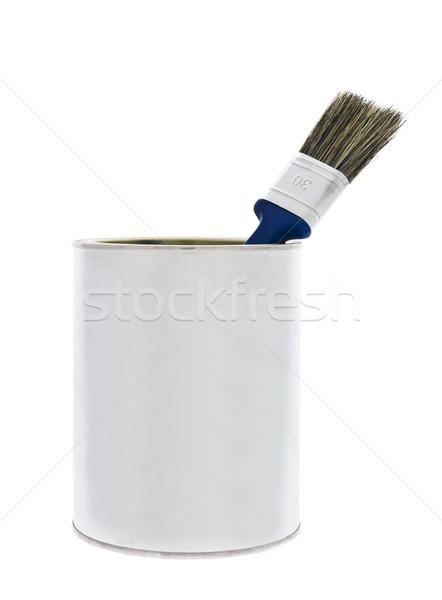 Festékes flakon kék konzerv ecset izolált fehér Stock fotó © gemenacom
