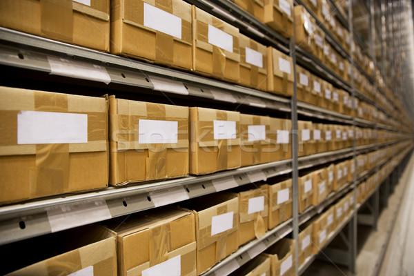 Depo çevre büyük bir grup karton kutuları iş Stok fotoğraf © gemenacom