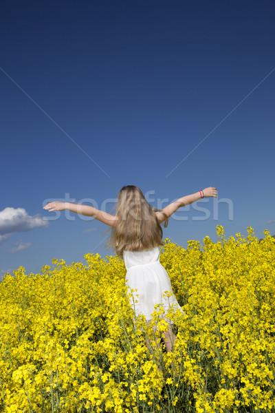 Nina violación campo joven armas primavera Foto stock © gemenacom