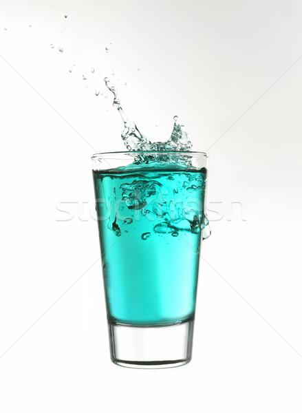 Stok fotoğraf: Sıçrama · cam · turkuaz · limonata · yalıtılmış · beyaz