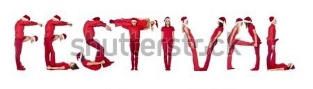 Wyrażenie festiwalu odizolowany biały mężczyzn zimą Zdjęcia stock © gemenacom