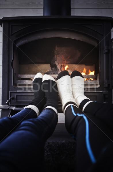 Pé fogueira meias fumar frio camping Foto stock © gemenacom
