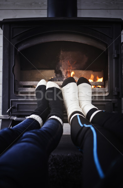 Feet at campfire Stock photo © gemenacom