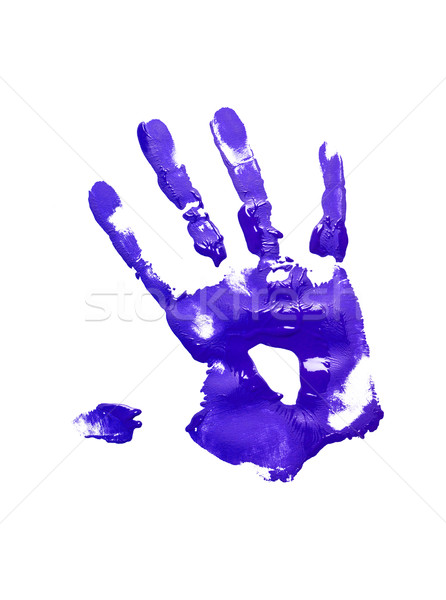 Blue handprint on white Stock photo © gemenacom