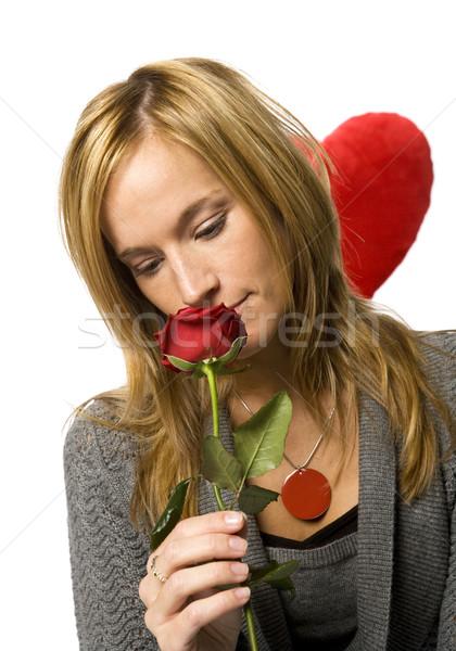 Nő rózsa fiatal nő piros rózsa fehér szeretet Stock fotó © gemenacom