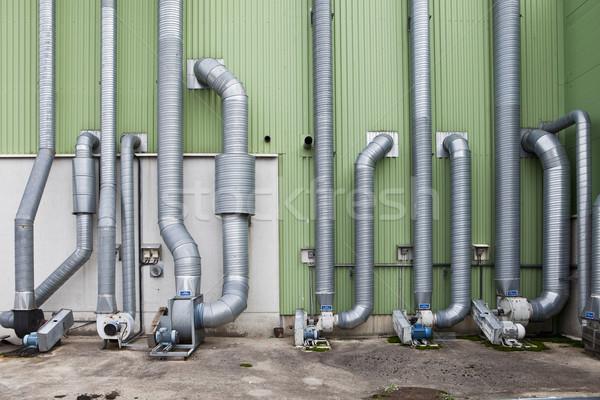 Ipar csövek kívül raktár épület energia Stock fotó © gemenacom