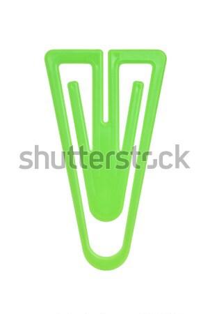 желтый скрепку изолированный белый пластиковых макроса Сток-фото © gemenacom
