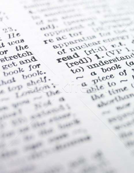Kelime okumak sözlük kâğıt kitap baskı Stok fotoğraf © gemenacom