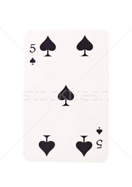 Cinque picche isolato bianco nero successo Foto d'archivio © gemenacom